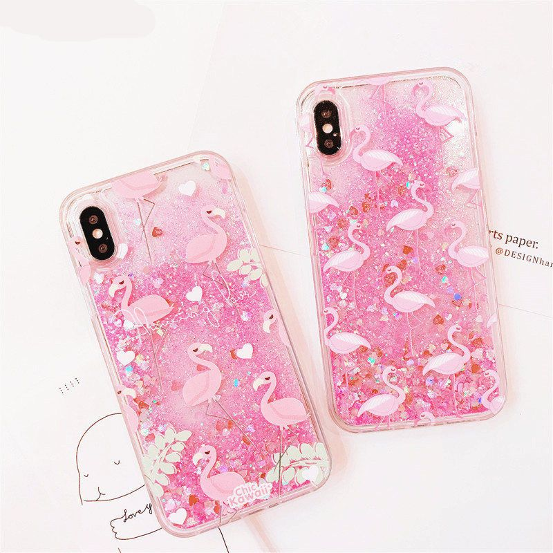 Pink Flamingo Glitter Quicksand Case