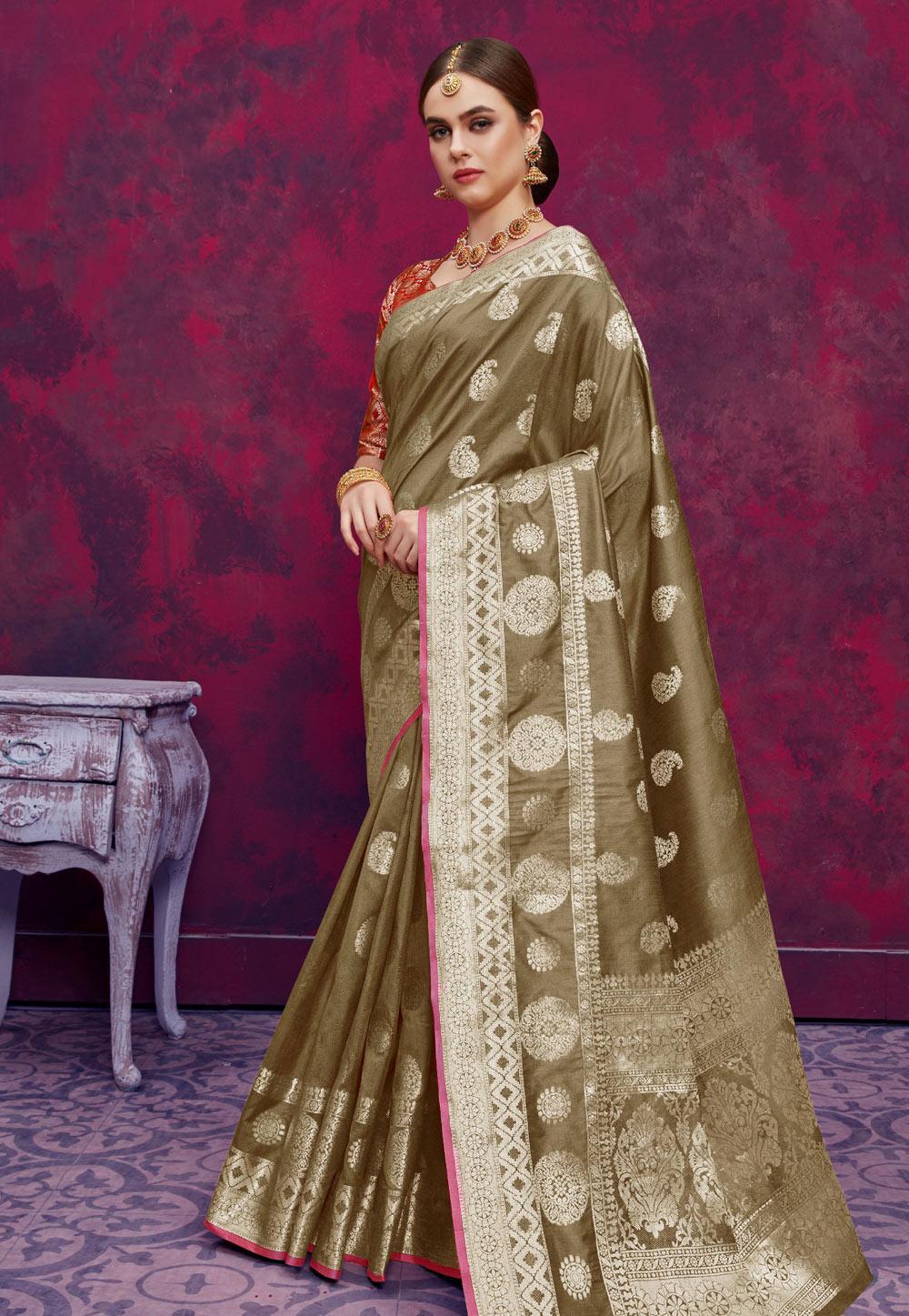 Buy Mehndi Banarasi Silk Festival Wear Saree 184870 with ...