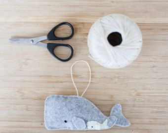 Handmade Felt Whale Ornament, Decorative Felt Animal Ornament, Felt Whale, Nursery Decoration, Home Decor, Baby gifts, Sea Creatures