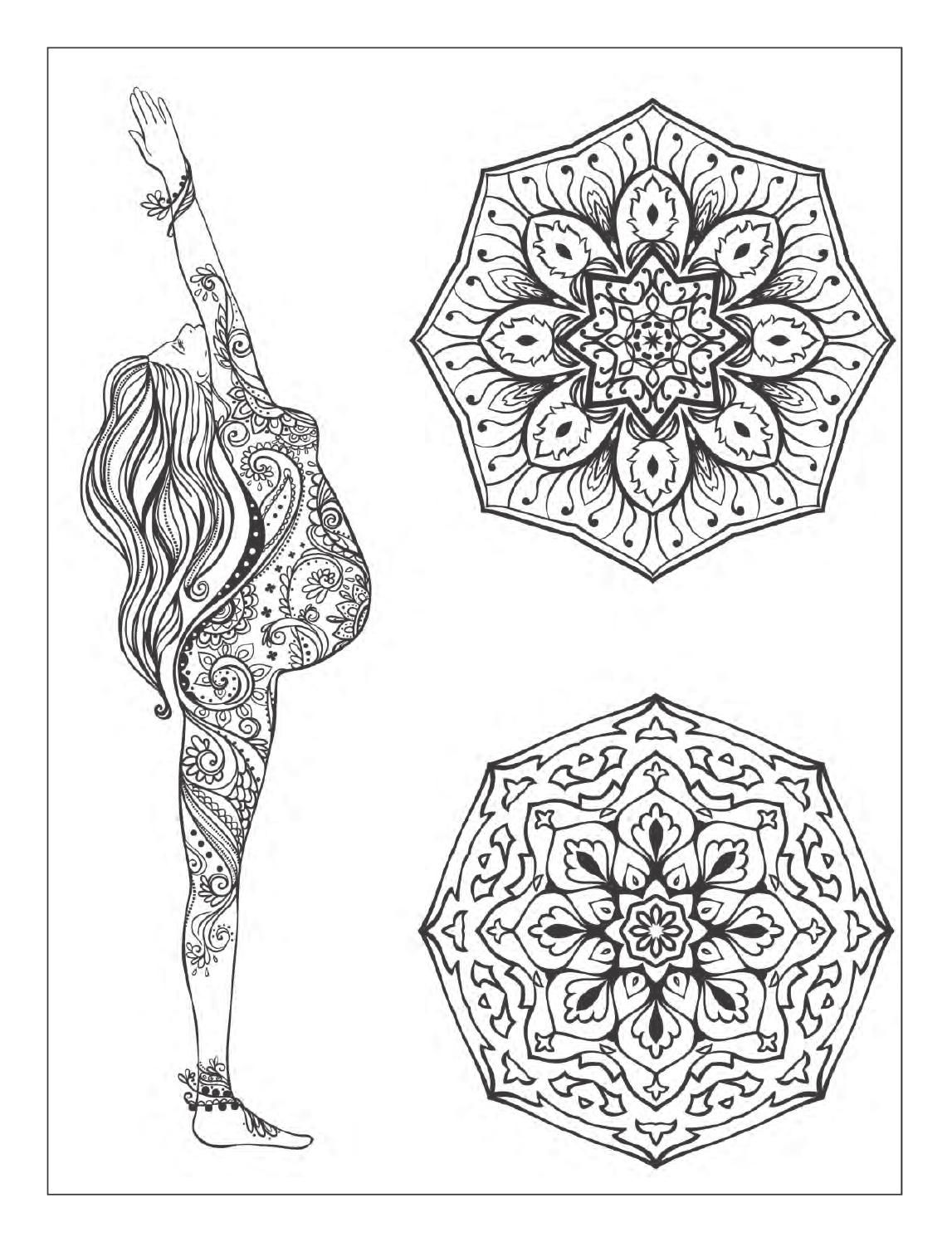 yoga and meditation coloring book for adults with yoga poses and mandalas - Yoga Anatomy Coloring Book