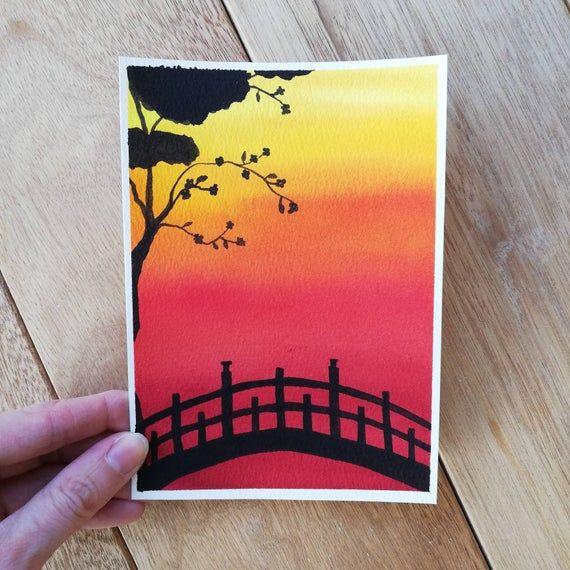 Origineel schilderen, zonsondergang schilderen, aq