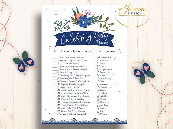 Printable Birthday Stationery Paper ~ Baby shower game celebrity baby names baby game blue baby shower