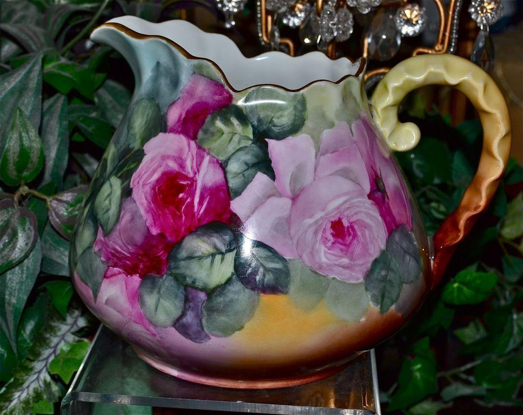 Limoges Breathtaking Rose Filled Cider/Lemonade Pitcher