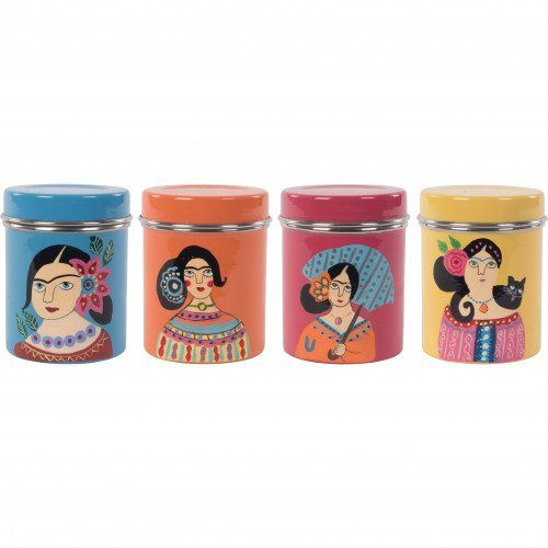 Frida Kahlo Furniture American Pickers: Hand Painted Frida Kahlo Stainless Steel Canister