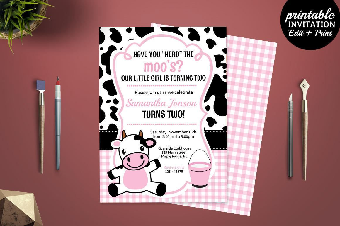 Printable Girl Birthday Party Invitation Template Cow Birthday
