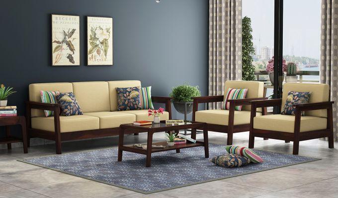 Buy Conan Wooden Sofa 3 1 1 Set Walnut Finish Online In India Wooden Sofa Set Designs Wooden Sofa Set Sofa Set Online