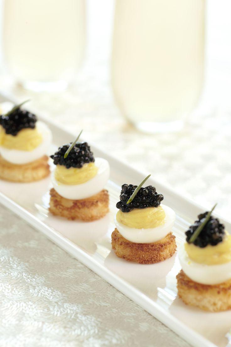 Toile 39 s deviled quail eggs with caviar recipe quail for Quail egg canape