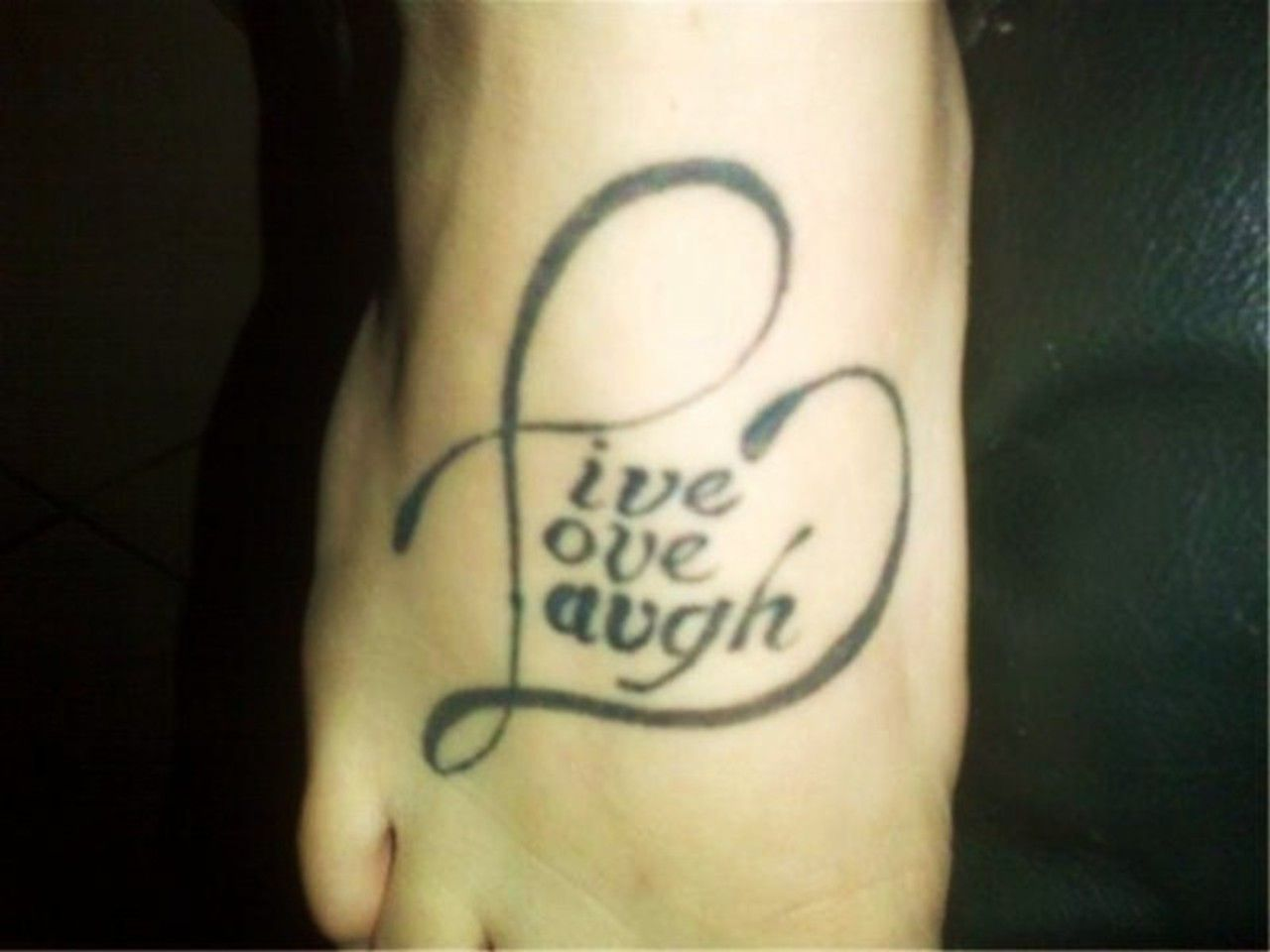 Beautiful Live Laugh Love Tattoo On Shoulder Quote