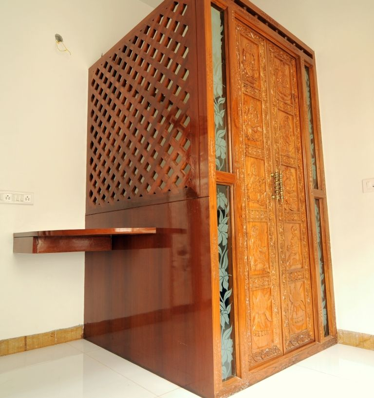 Homedekko classy and graceful interiors of bengaluru - Wall mounted wooden temple design for home ...
