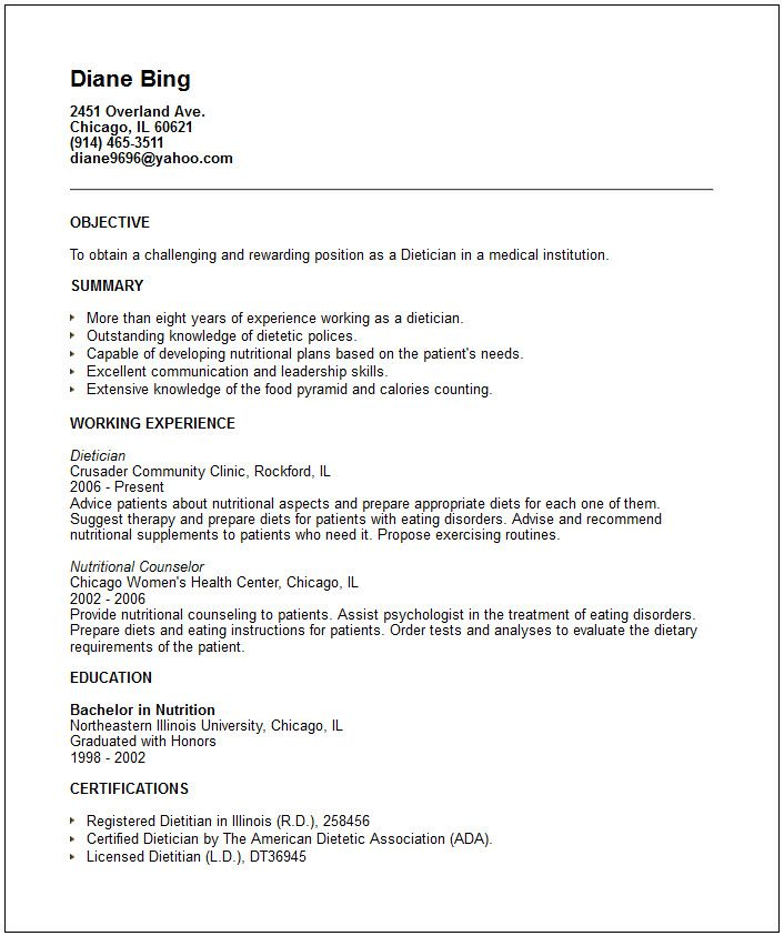 nutritionist resume examples - Google Search resume Pinterest - dietitian specialist sample resume