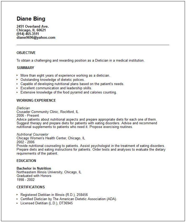 dietitian aide resume sample