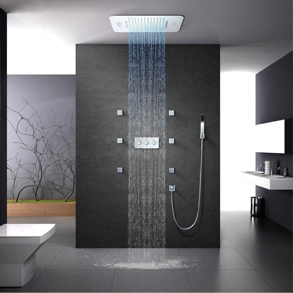 Led Shower With Bluetooth Music Led Shower Head Rainfall Shower Ceiling Mounted Shower Head