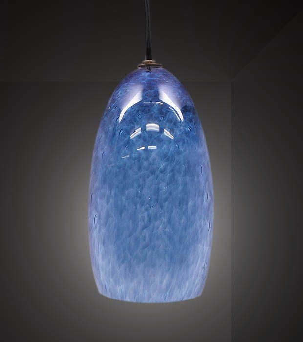 Picture Of Steel Blue Tiny Bubbles Blown Glass Pendant Light