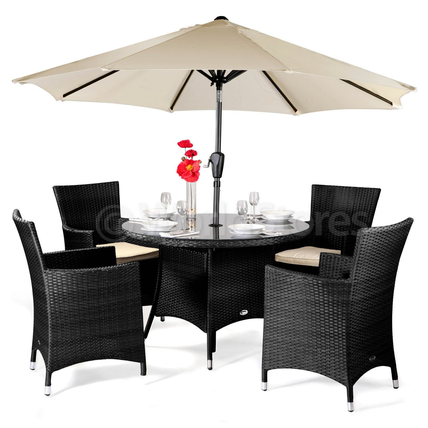 cannes rattan round 4 seater dining set garden furniture optional parasol patio in garden patio garden patio furniture furniture sets