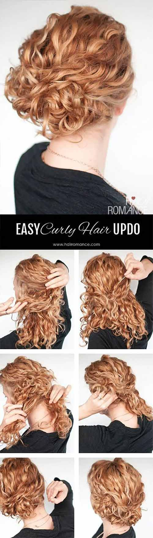20 Incredibly Stunning Diy Updos For Curly Hair Curly Hair Styles Easy Curly Updo Easy Updo Hairstyles Tutorials