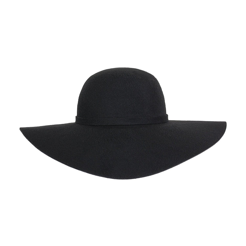 964cfda28fa79a Hats & Caps, Women's Hats & Caps, Fedoras, Vintage 100% Wool Felt Large  Floppy Hat Bowler Fedora with Wide Brim and Trim - Black - CK186782T70  #women #hats ...
