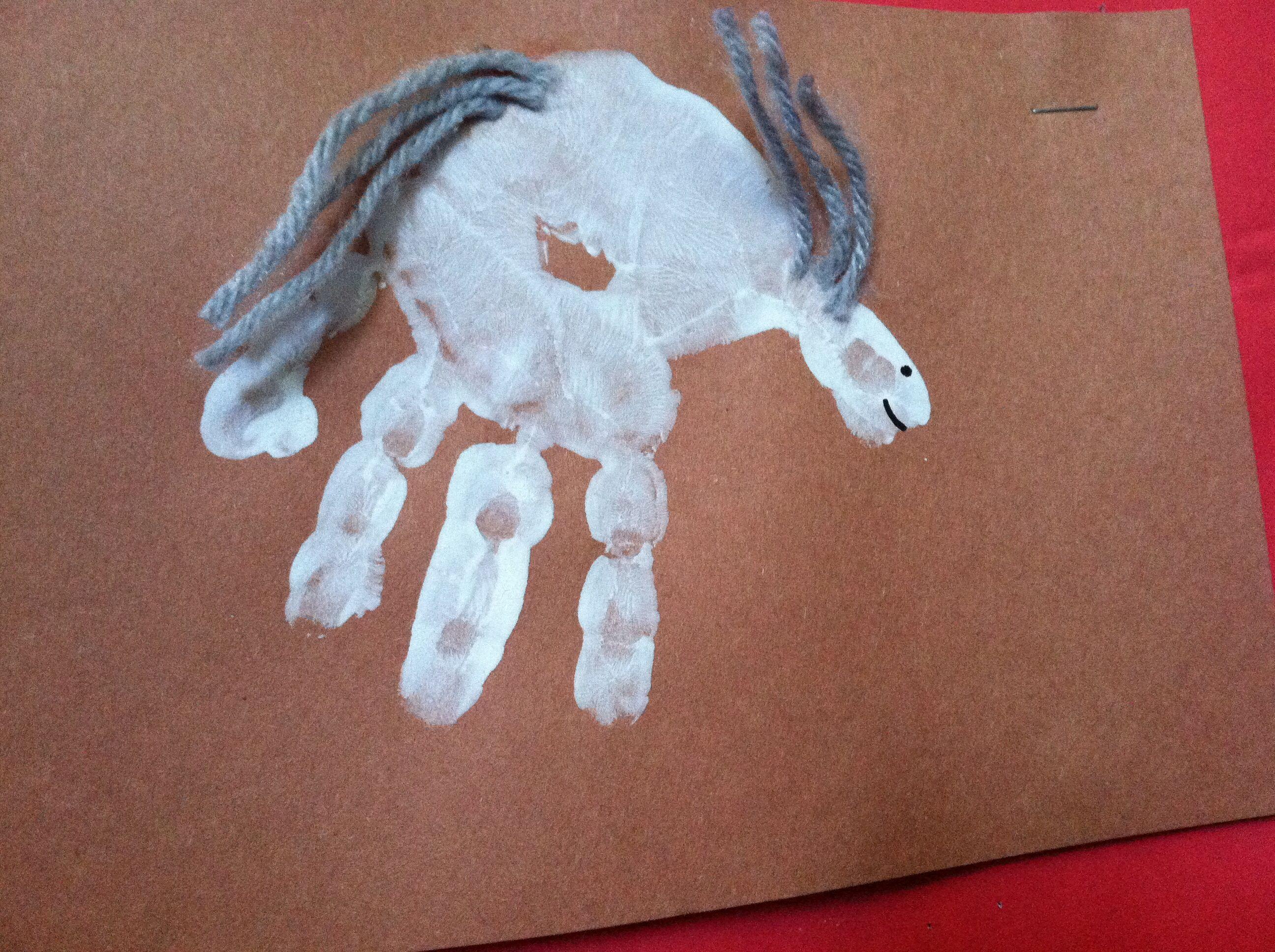 Very easy hand print horse.