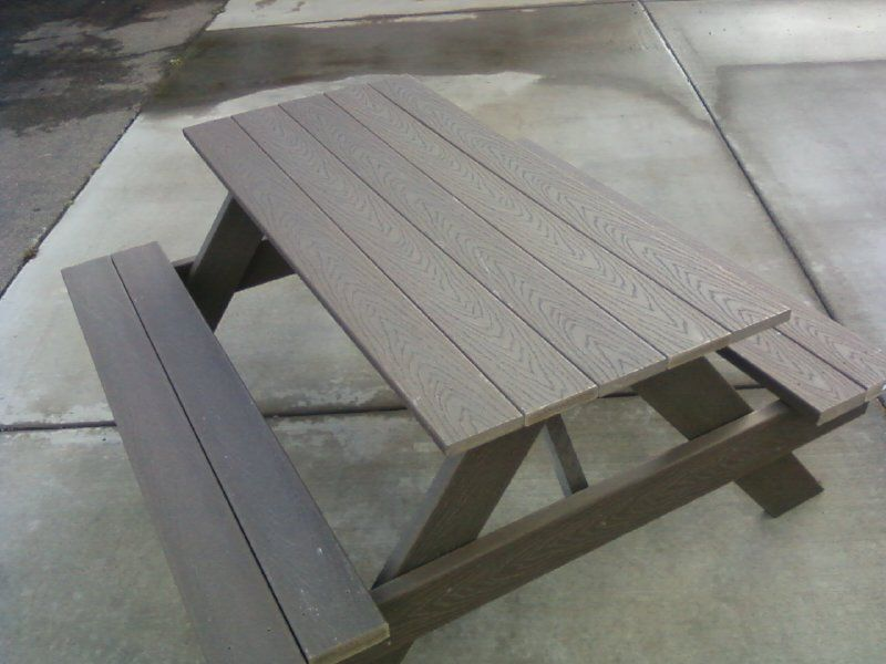 6ft Trex Building Material Picnic Table With Benches Attached 500