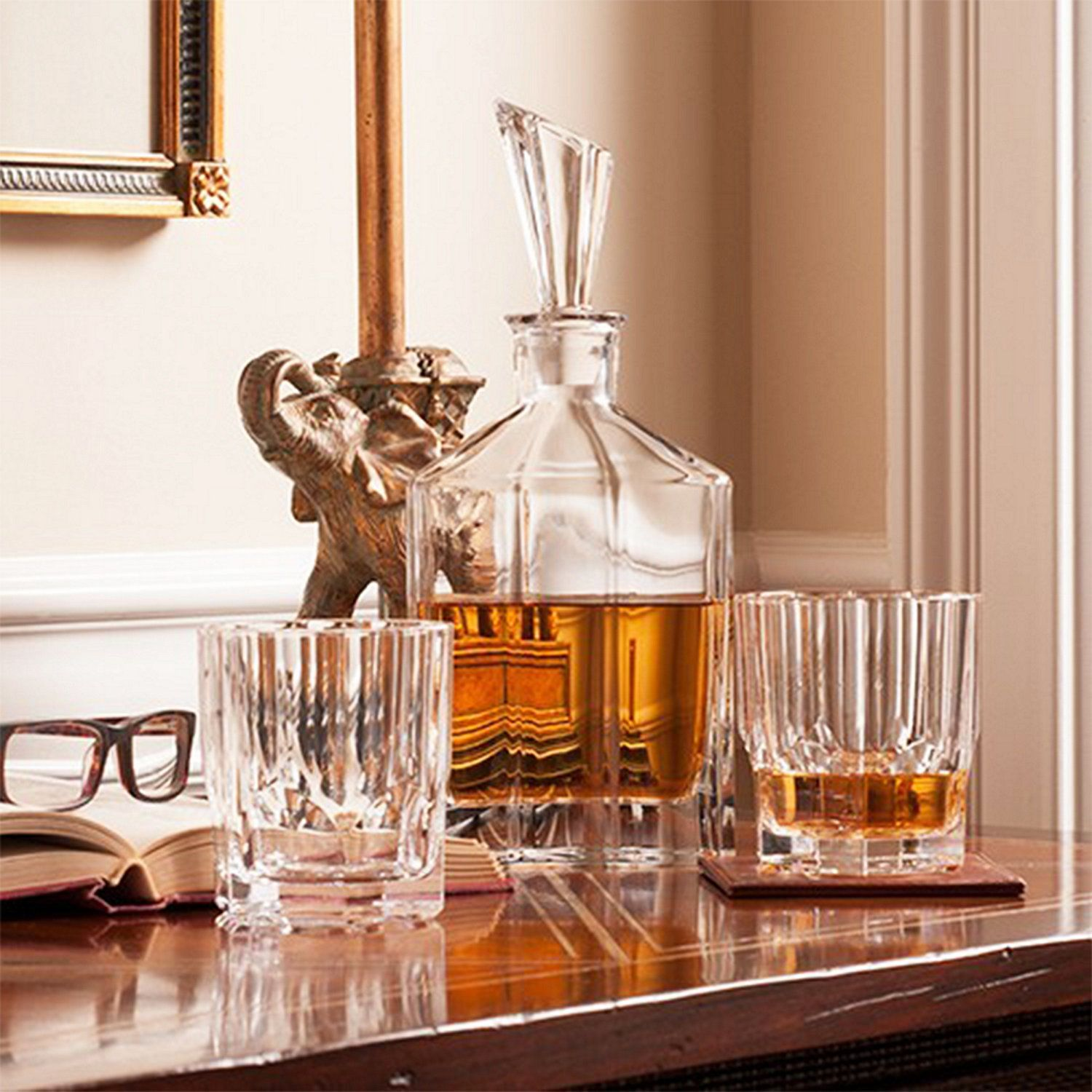 Nachtmann whiskey crystal Set Decanter and Two whiskey Glasses