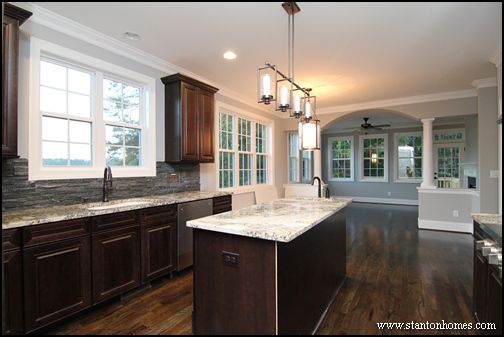 kitchen design ideas: dark cabinets and light granite, with photos