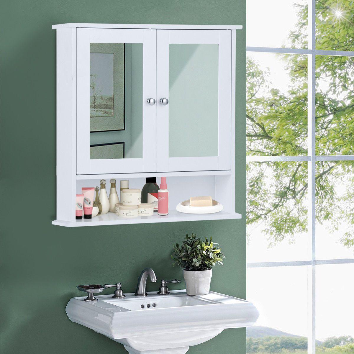 New Bathroom Wall Cabinet Double Mirror Door Cupboard Storage Wood Shelf White 43 99 End Da In 2020 Rustic Bathroom Wall Decor Bathroom Wall Cabinets Cabinet Cupboard