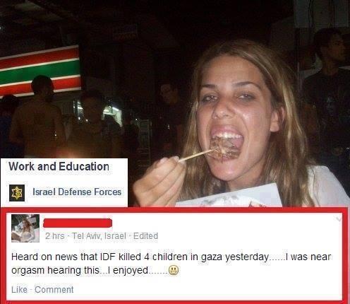 Esta buena mujer que con esa cara evidentemente no sabe lo que es un orgasmo, cree que matar a 4 niños en una playa israelí le hará sentir algo así.