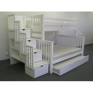 Best Bedz King Stairway Bunk Bed Twin Over Full In White With 4 400 x 300