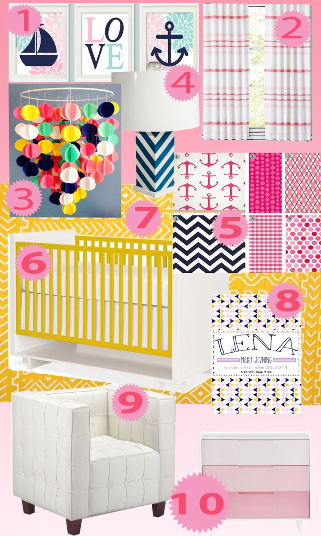 Baby Nautical Nursery Pink Navy Yellow