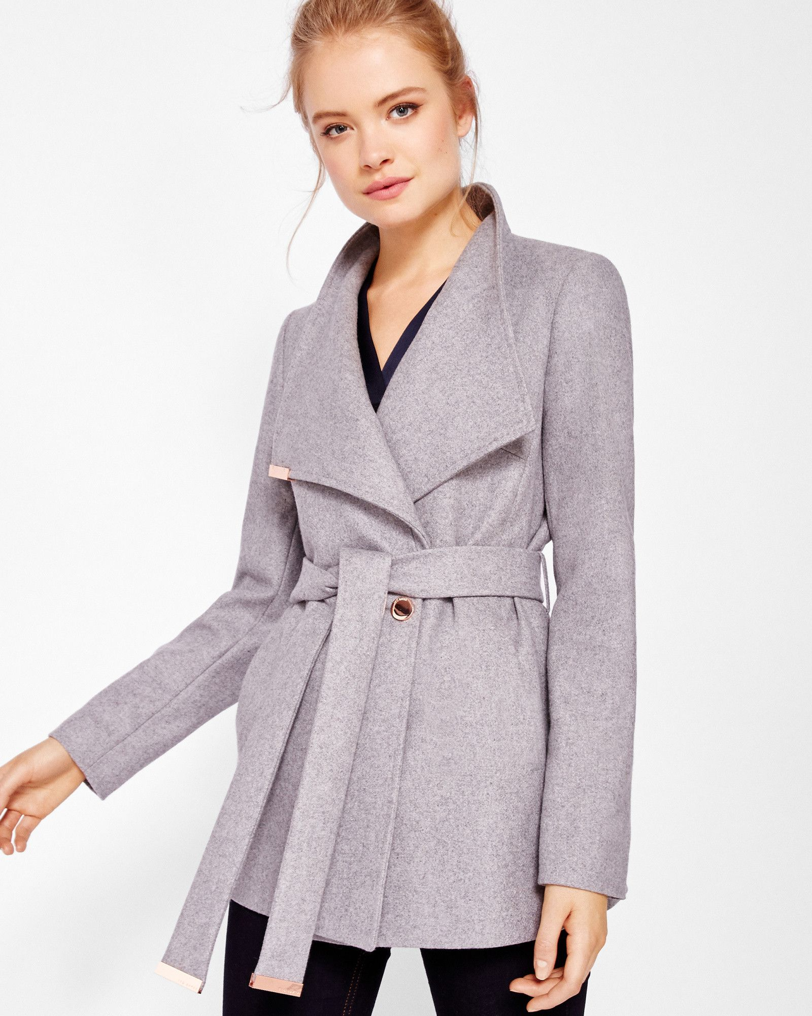 4b01fc2b41bb2 Short wrap cashmere-blend coat - Light Gray