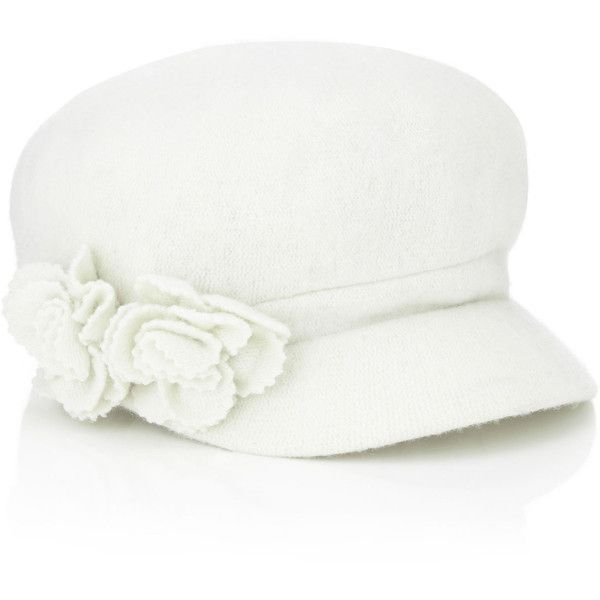 Accessorize Wool Baker Boy Hat With Corsage Hat ($8.25) ❤ liked on Polyvore featuring accessories, hats, caps, ivory, newsboy hat, white winter hat, wool hat, newsboy cap and apple cap