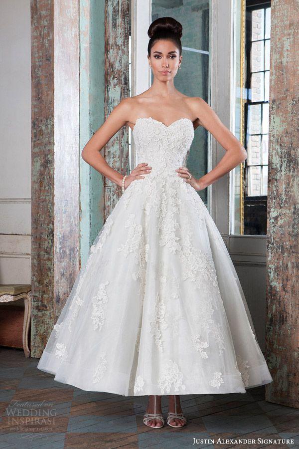 Justin Alexander Tea Length Wedding Dress