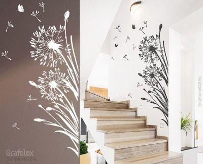 Wandtattoo-Pusteblume-25-Flugsamen-Schmetterlinge-Lwenzahn - wohnzimmer weis gelb