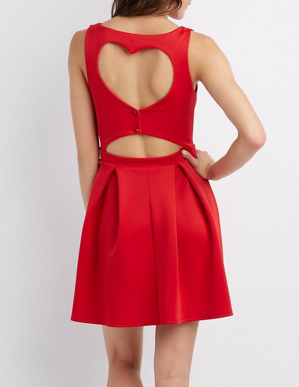 b24b54ecd62 Heart Cut-Out Skater Dress
