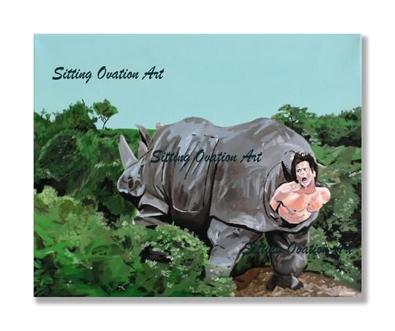 Ace Ventura Rhino Painting 16x20 | The Bathroom Collection ...