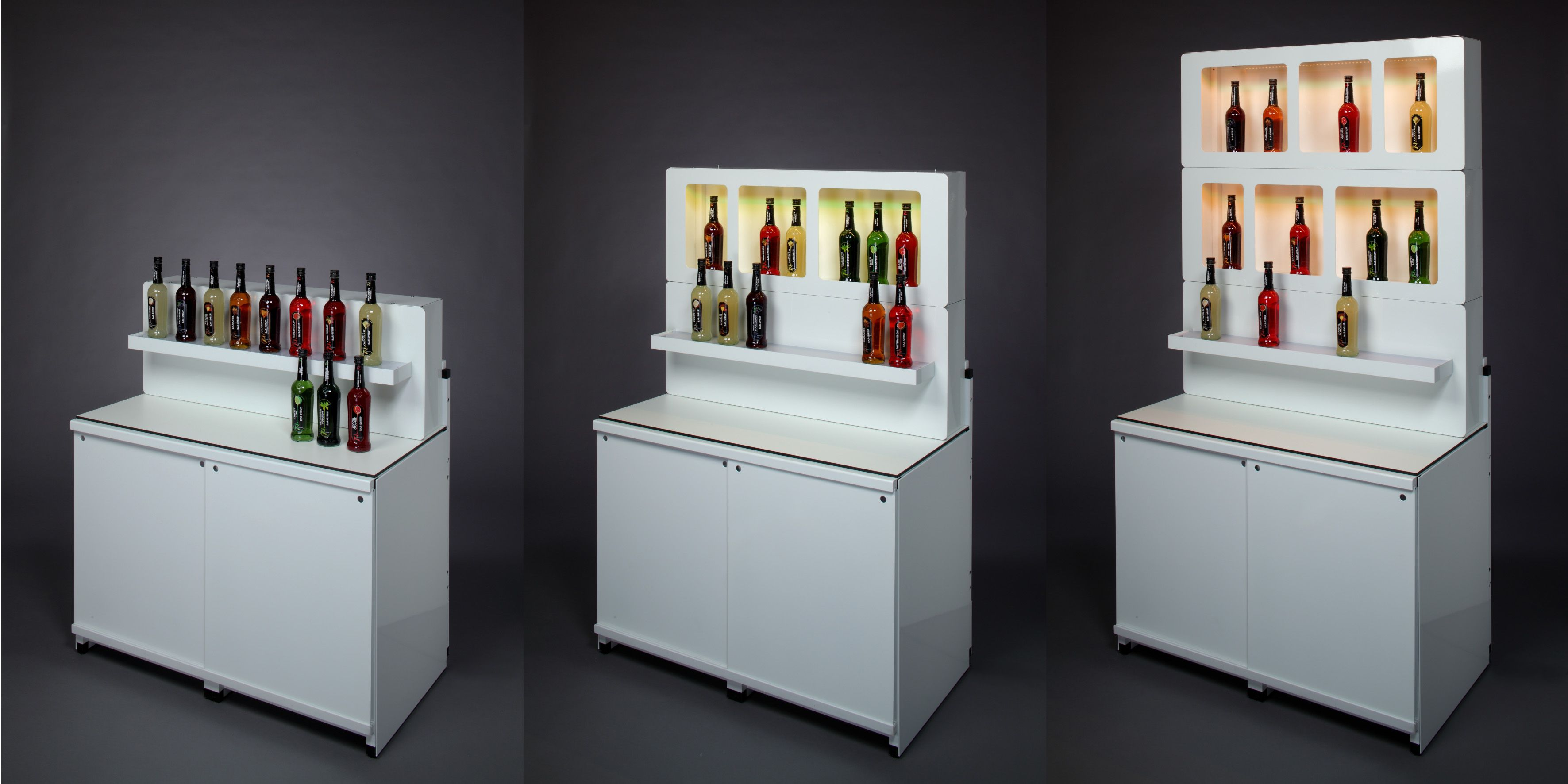 G Raxx Modular Bar Without Bartop And Used As A Backbar With Bottle Displays