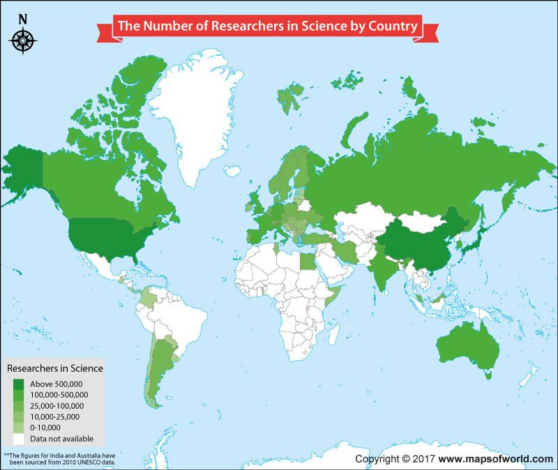 The number of researchers in science per country on a world map the number of researchers in science per country on a world map gumiabroncs Choice Image