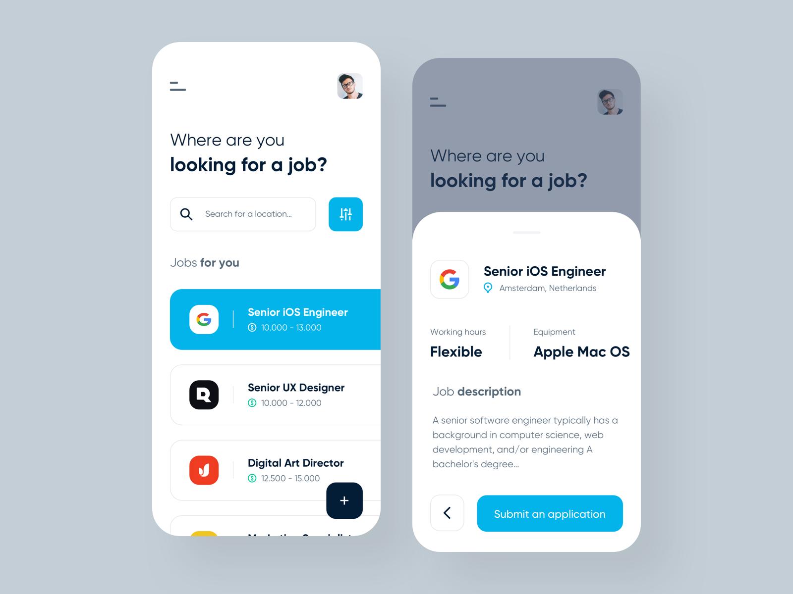 Job Portal Ios Application Job Portal Instagram Jobs App Design