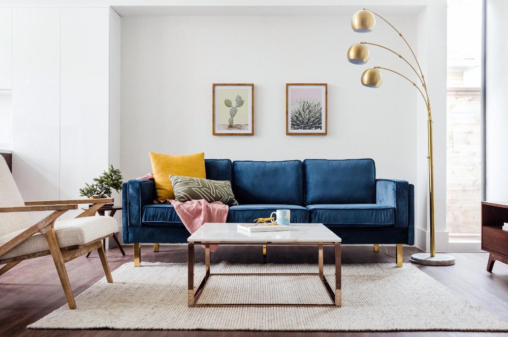 Lexington Velvet Sofa Blue Edloe Finch Furniture Co In 2020 Blue Velvet Sofa Living Room Blue Sofas Living Room Navy Sofa Living Room