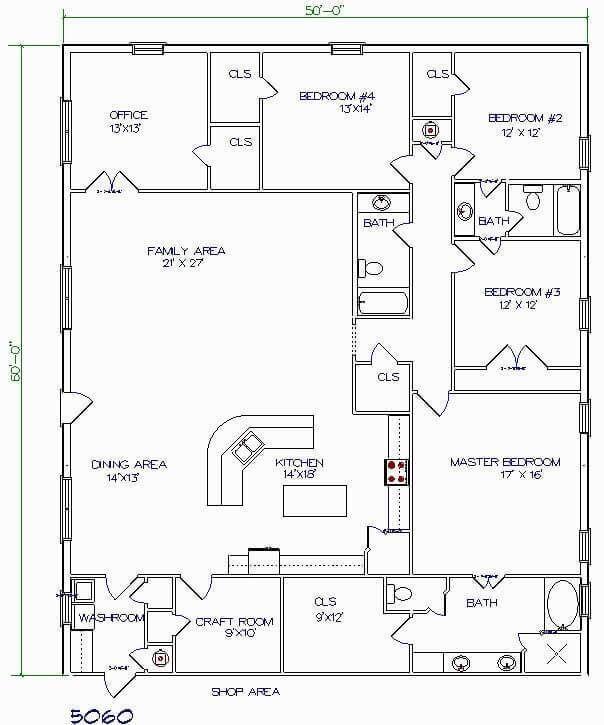 Barndominium Floor Plans 4 4 Bedrooms One Office One Craft Room Pole Barn House Plans Barndominium Floor Plans Barndominium Plans