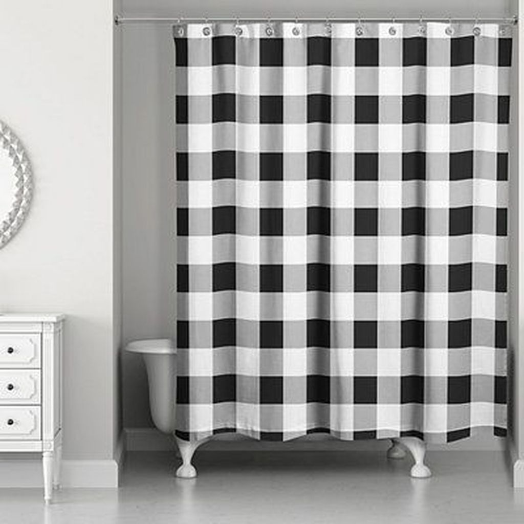 31 Amazing Black And White Shower Curtain For Your Bathroom Decor In 2020 White Shower Curtain Farmhouse Shower Curtain Buffalo Check Shower Curtain