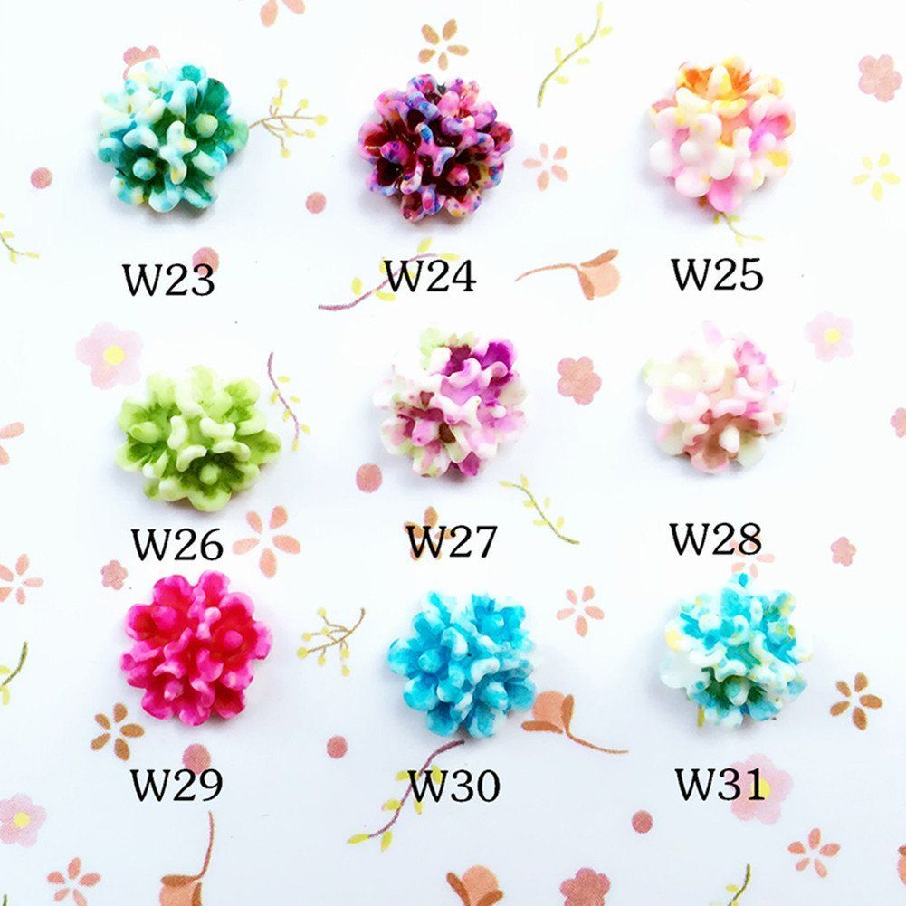 1Pc Colorful 3D Nail Decoration 8mm Resin Cherry Blossom Flat Bottom Nail Art Decoration 9 Colors >>> You can get additional details at the image link.