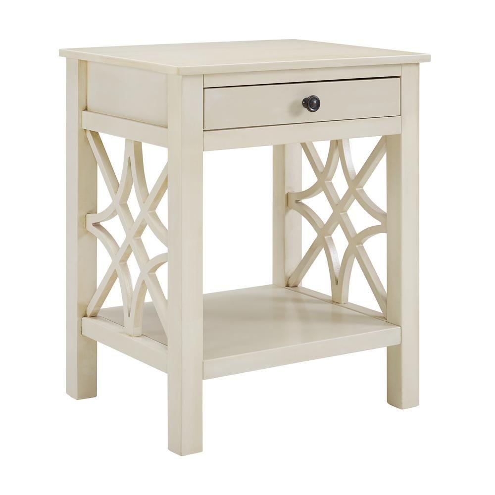 Linon Home Decor Sloane Antique White End Table White End Tables