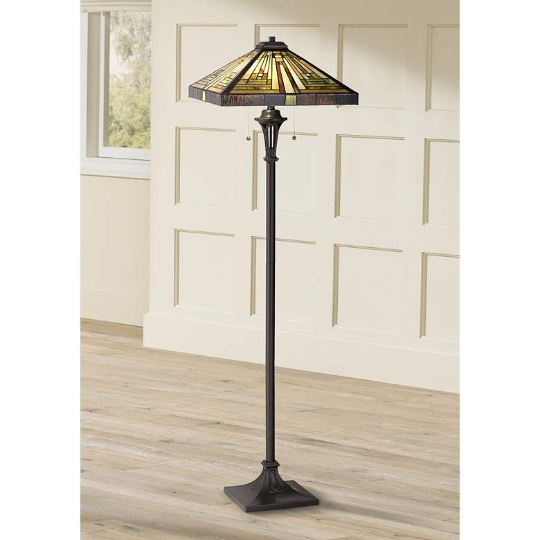 Quoizel Shiloh Tiffany Art Glass Floor Lamp 5d467 Lamps Plus In 2020 Glass Floor Lamp Tiffany Style Floor Lamps Glass Floor