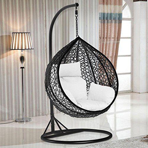 Outdoortips Black Rattan Wicker Weave Garden Patio Hanging Swing Chair Seat  Hammock