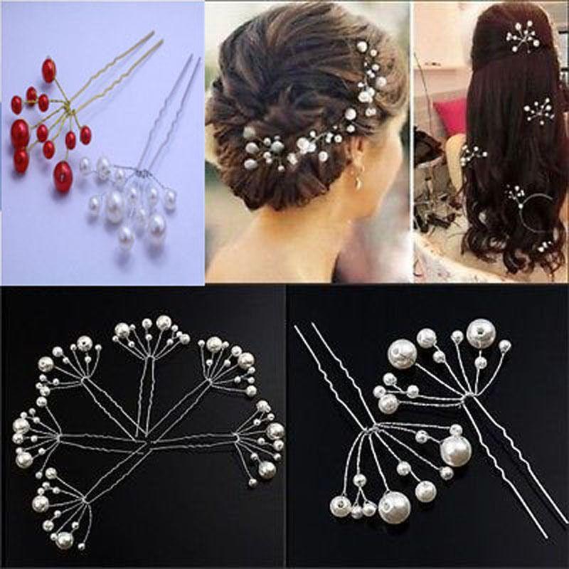 ... Más Joyas para Cabello Información acerca de 6 unidades de la novia  pinza de pelo de Hairband flor de la perla rojo palillos del pelo tocados  para boda ... 2c9a802bf96d