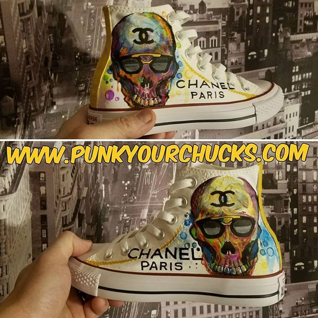 6a23c1bdd37d Custom Chanel Skull Converse Chuck Taylors by MAG from Punk Your Chucks! To  request your own custom chucks design then simply message Mag here or via  the ...