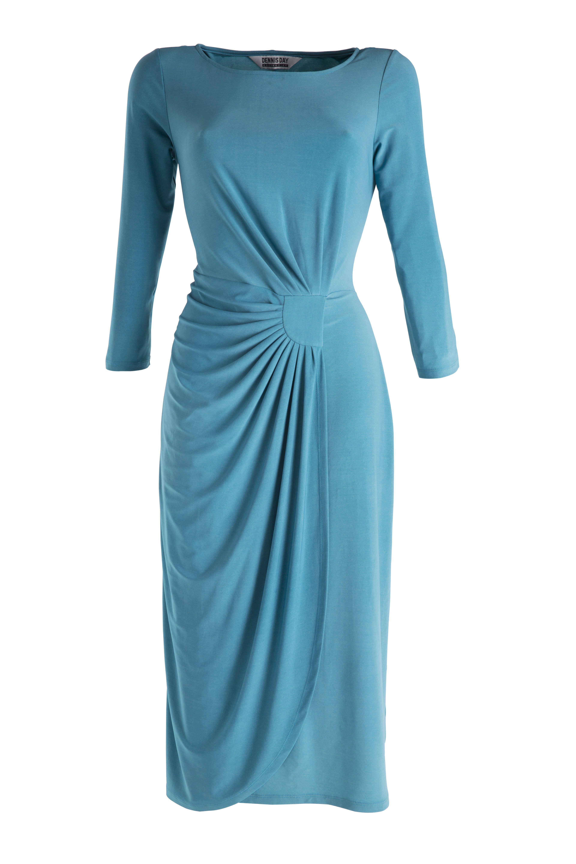 Damart Mock Wrap Dress In Peacock Www Damart Co Uk Mock Wrap Dress Blue Summer Dresses Dresses