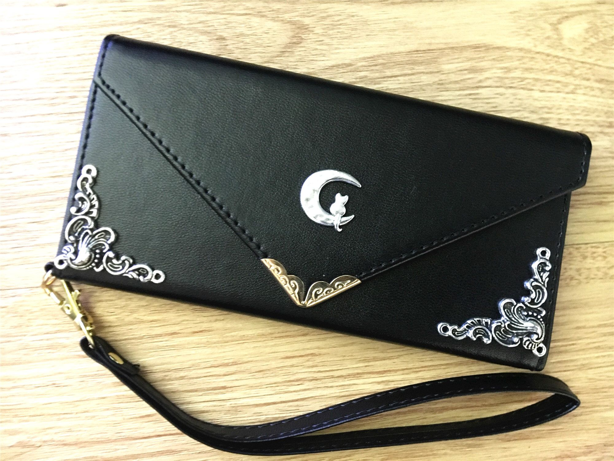 Cute cat on the moon envelope wallet pu leather handmade