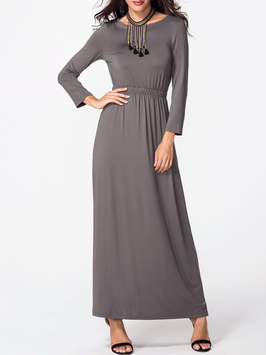 Boat neck plain longsleeve maxi dress