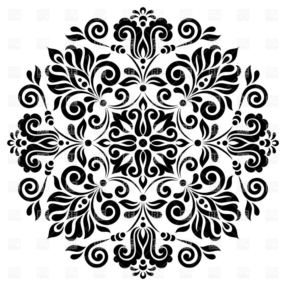 Round Graphic Floral Pattern 28597 Backgrounds Textures